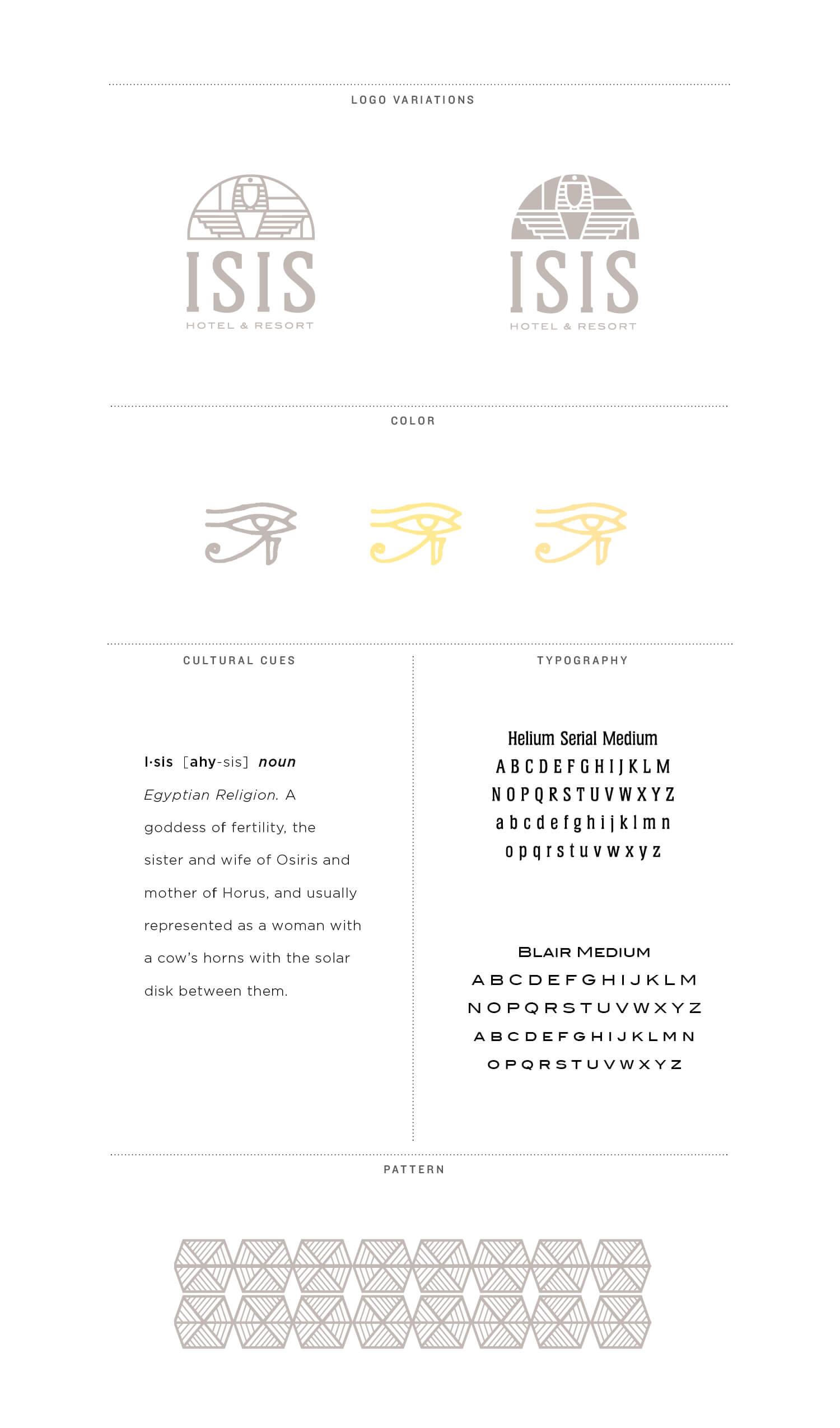 Isis Hotel Graphic Design Branding Board