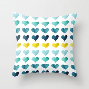 Hearts of the Sea Watercolor Art Throw Pillow by Aliya Bora