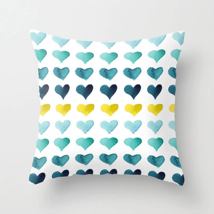 Hearts of the Sea Watercolor Art Throw Pillow by Aliya Bora
