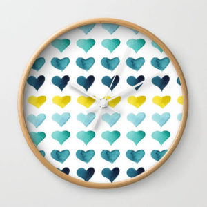 Hearts of the Sea Watercolor Art Wall Clock by Aliya Bora