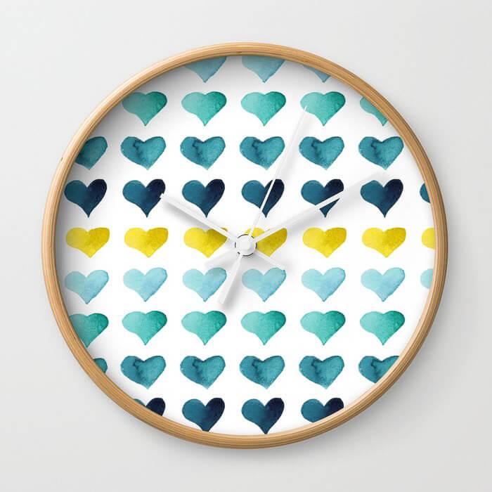 Hearts of the Sea Watercolor Art Wall Clock by Aliya Bora