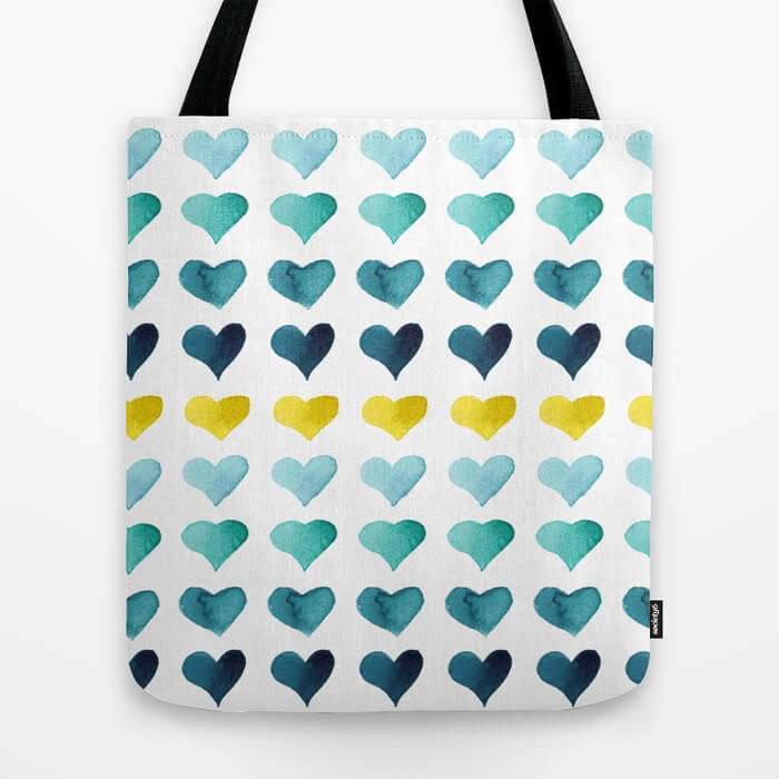 Hearts of the Sea Watercolor Art Tote Bag by Aliya Bora