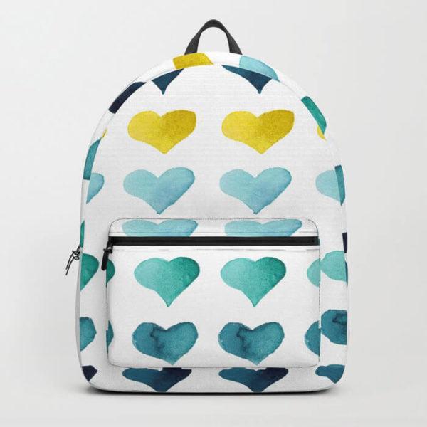Hearts of the Sea Watercolor Art Backpack by Aliya Bora