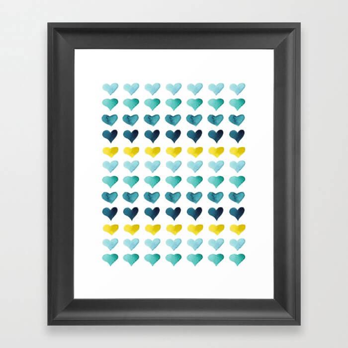 Hearts of the Sea Watercolor Framed Art Print by Aliya Bora