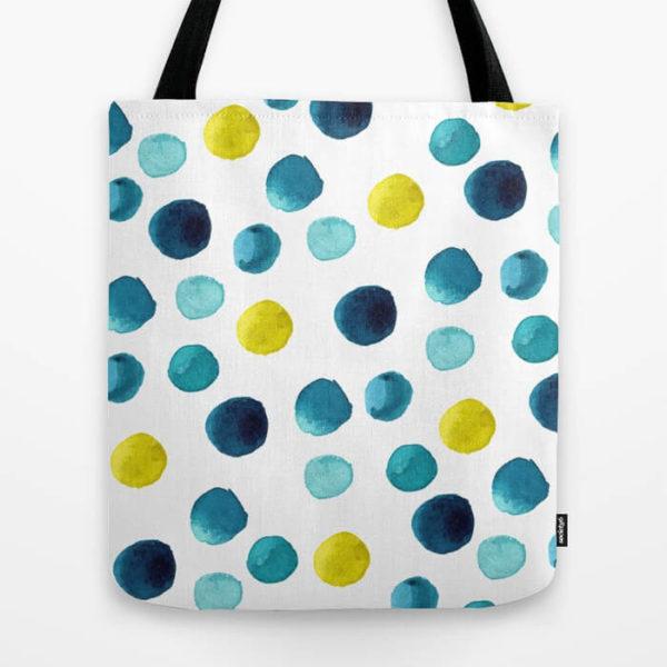 Polka Dot Sea Watercolor Art Tote Bag by Aliya Bora
