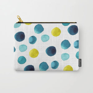 Polka Dot Sea Watercolor Art Carry All Pouch by Aliya Bora