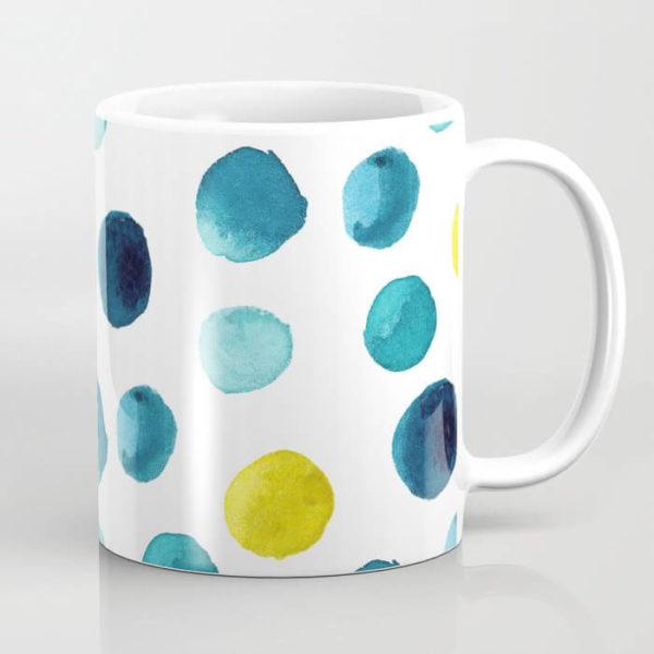 Polka Dot Sea Watercolor Art Coffee Mug by Aliya Bora