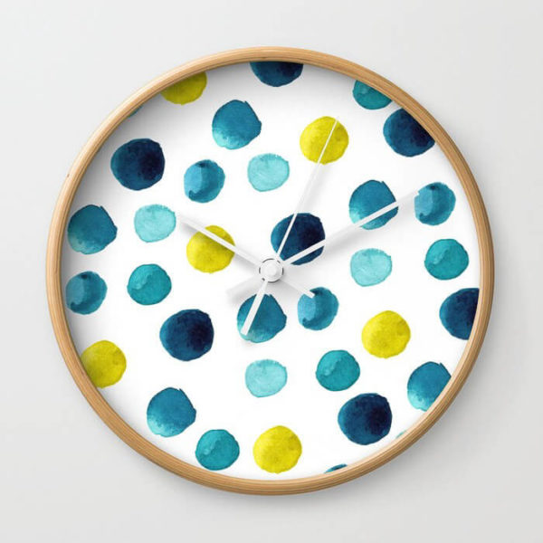 Polka Dot Sea Watercolor Art Wall Clock by Aliya Bora