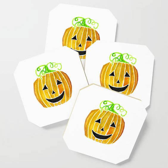 Halloween Jack-O-Lantern Pumpkin Watercolor Art Coasters by Aliya Bora