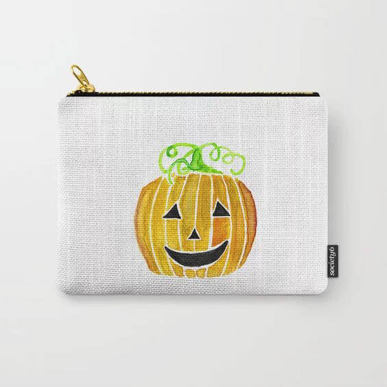 Halloween Jack-O-Lantern Pumpkin Watercolor Art Carry-All Pouch by Aliya Bora