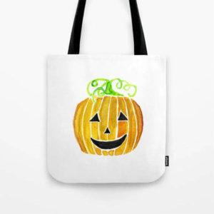 Halloween Jack-O-Lantern Pumpkin Watercolor Art Tote Bag by Aliya Bora