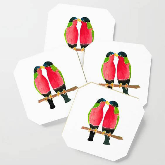 Australian Collared Lorry Birds Watercolor Art Coasters by Aliya Bora