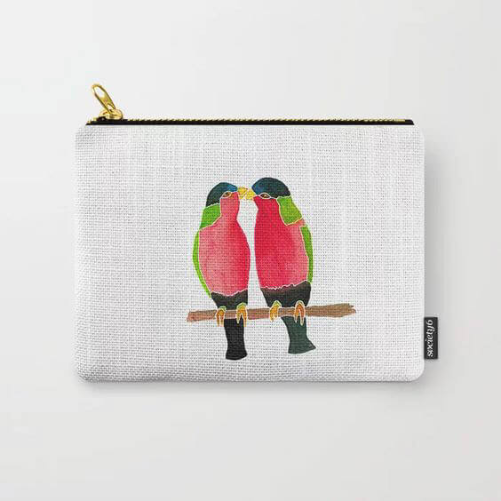 Australian Collared Lorry Birds Watercolor Art Carry All Pouch by Aliya Bora
