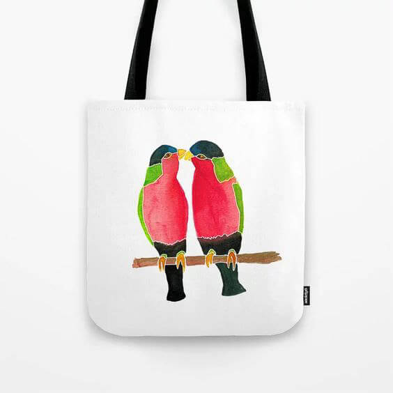 Australian Collared Lorry Birds Watercolor Art Tote Bag by Aliya Bora