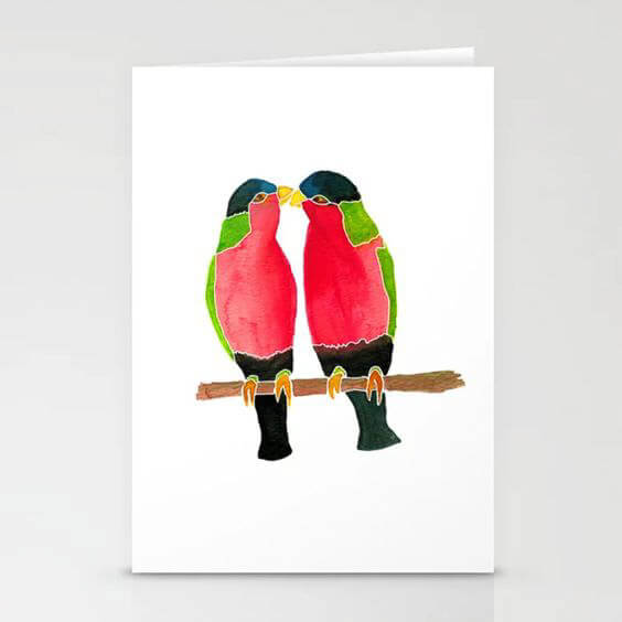 Australian Collared Lorry Birds Watercolor Art Stationery Card by Aliya Bora