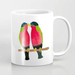 Australian Collared Lorry Birds Watercolor Art Coffee Mug by Aliya Bora