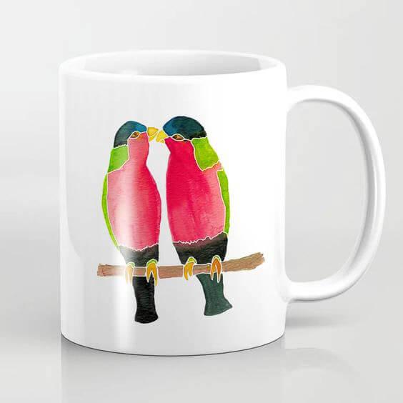 Australian Collared Lorry Birds Watercolor Art Coffee Mug by Aliya Bora