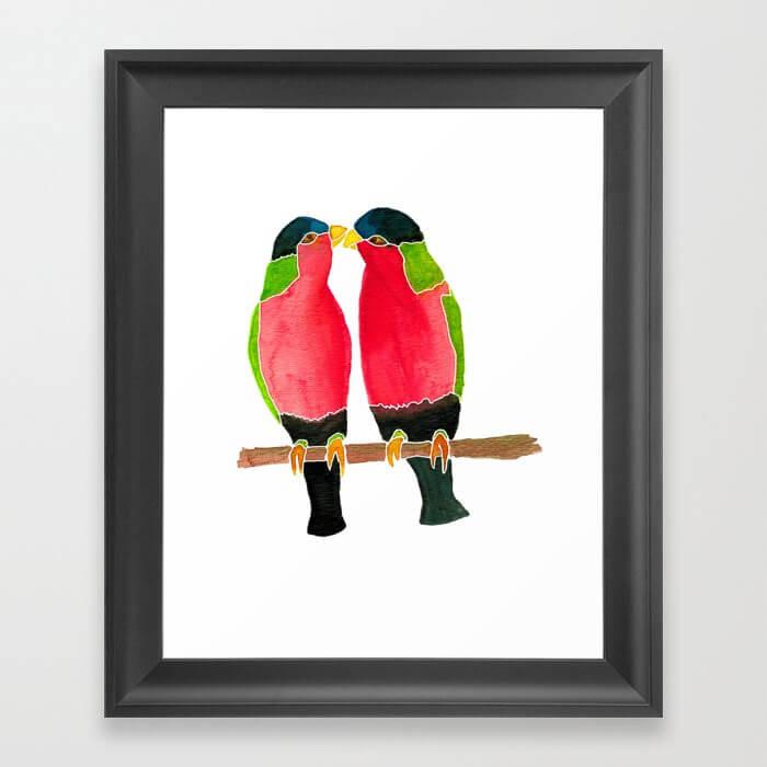 Australian Collared Lorry Birds Watercolor Framed Art Print by Aliya Bora