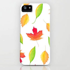 Fall Maple Leaves Watercolor Art Phone Case by Aliya Bora
