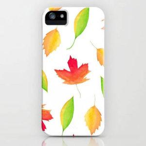 Fall Maple Leaves Watercolor Art Phone Case by Aliya Bora