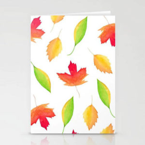 Fall Maple Leaves Watercolor Art Stationery Card by Aliya Bora