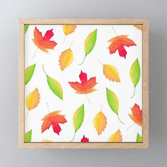 Fall Maple Leaves Watercolor Framed Mini Art Print by Aliya Bora
