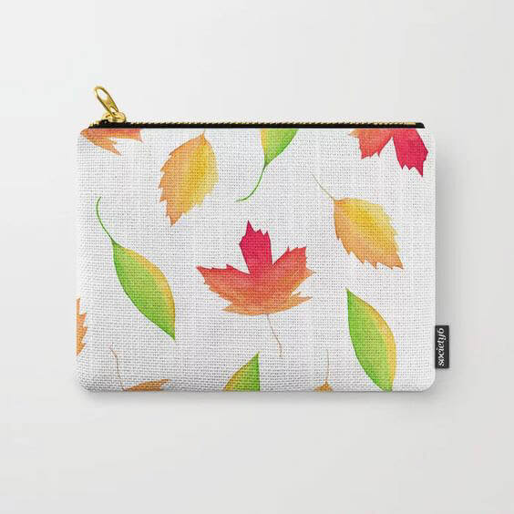 Fall Maple Leaves Watercolor Art Carry All Pouch by Aliya Bora