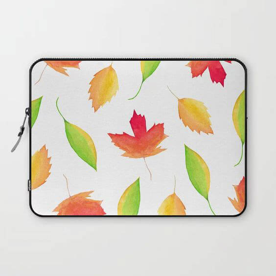 Fall Maple Leaves Watercolor Art Laptop Case by Aliya Bora