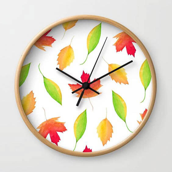 Fall Maple Leaves Watercolor Art Wall Clock by Aliya Bora