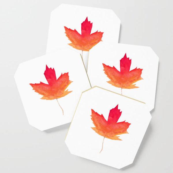Fall Maple Leaves Watercolor Art Coasters by Aliya Bora