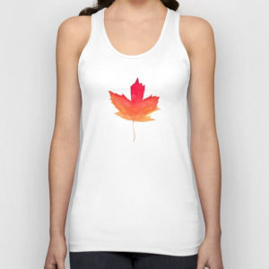 Fall Maple Leaves Watercolor Wooden Art Tank Top by Aliya Bora