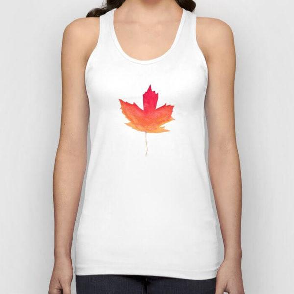 Fall Maple Leaves Watercolor Wooden Art Tank Top by Aliya Bora