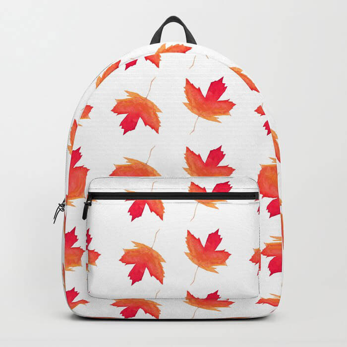 Fall Maple Leaves Watercolor Art Backpack by Aliya Bora