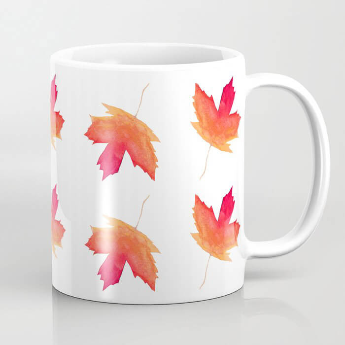 Fall Maple Leaves Watercolor Art Coffee Mug by Aliya Bora