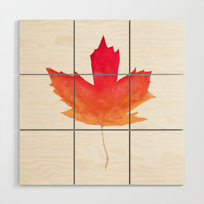 Fall Maple Leaves Watercolor Wooden Block Art by Aliya Bora