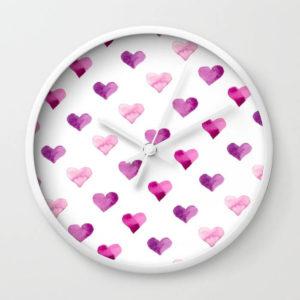 Pink Candy Hearts Watercolor Wall Clock by Aliya Bora