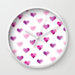 Pink Candy Hearts Wall Clock