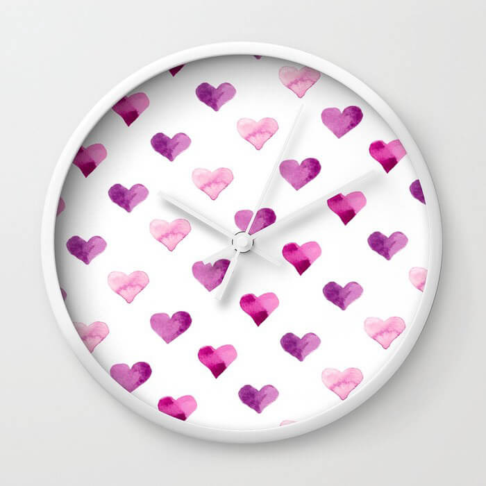 Pink Candy Hearts Watercolor Wall Clock by Aliya Bora