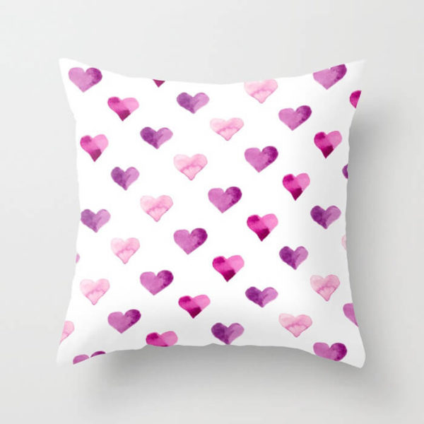 Pink Candy Hearts Watercolor Throw Pillow by Aliya Bora