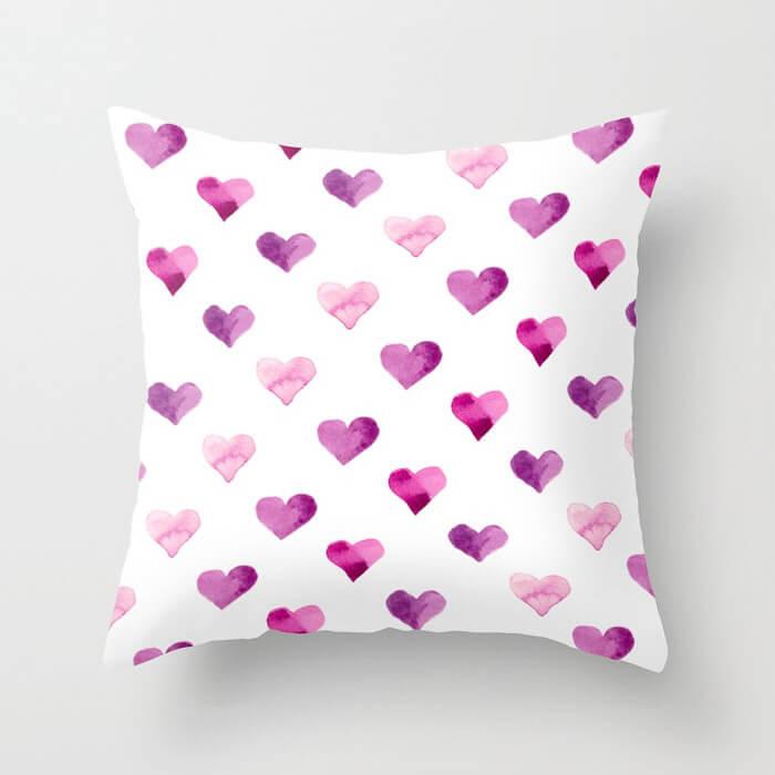 Pink Candy Hearts Watercolor Throw Pillow by Aliya Bora