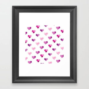 Pink Candy Hearts Watercolor Framed Art Print by Aliya Bora