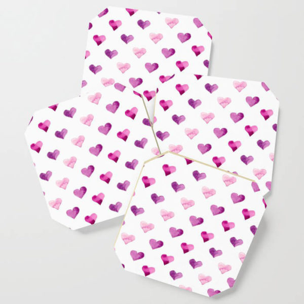 Pink Candy Hearts Watercolor Coasters by Aliya Bora