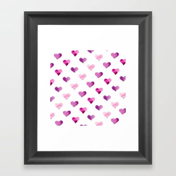 Pink Candy Hearts Watercolor Framed Art Print by Aliya Bora