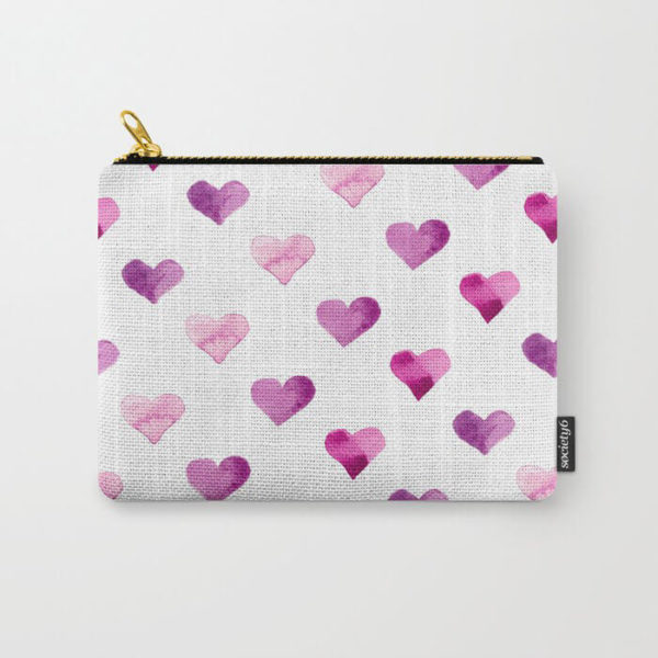 Pink Candy Hearts Watercolor Carry-All Pouch by Aliya Bora