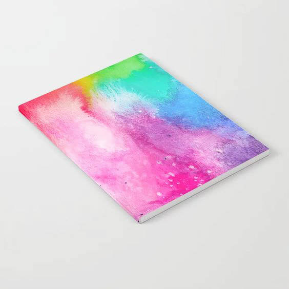 Watercolor Rainbow Splash Notebook Product by Aliya Bora