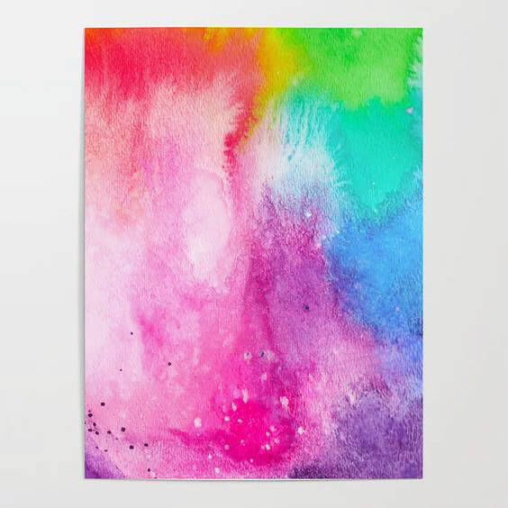 Watercolor Rainbow Splash Canvas Art Print Product by Aliya Bora