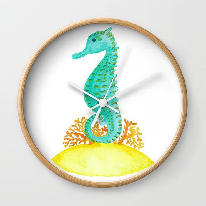 Watercolor Seahorse Life Framed Wall Clock Product by Aliya Bora