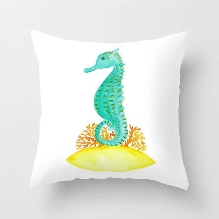 Watercolor Seahorse Life Throw Pillow Product by Aliya Bora