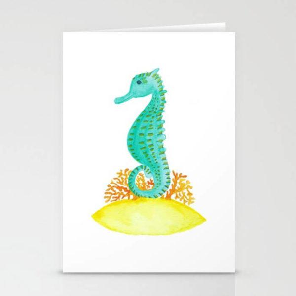 Watercolor Seahorse Life Stationery Card Product by Aliya Bora