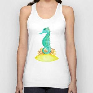 Watercolor Seahorse Life Tank Top Product by Aliya Bora